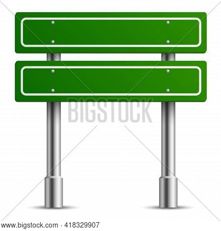 Traffic Green Sign. Board Road Text Panel, Location Street Way Signage Template, Direction Highway C