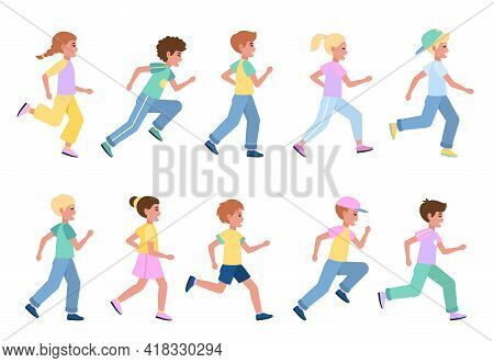 Running Kids Set. Young Happy Runners Side View Collection, Children Sport Activities, Athlete Boys