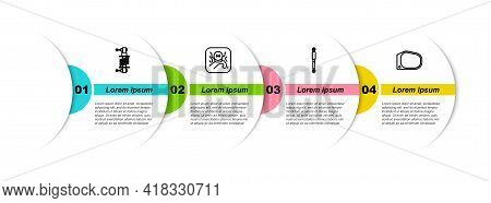 Set Line Shock Absorber, Gear Shifter, And Car Mirror. Business Infographic Template. Vector