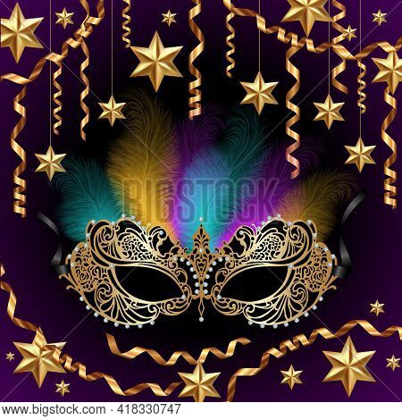 Illustration Of Card Template With Carnival Mask, Feathers, Golden Stars And Streamers