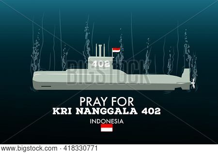 Illustration Of A Submarine With A Background In The Deep Sea Air. Indonesian Submarine Kri Nanggala