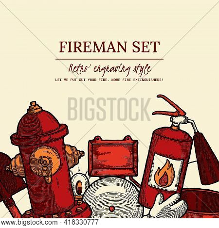 Firefighting Vintage Elements Set Of Fireman Tools Vector Illustration. Rescue Equipment Isolated. D