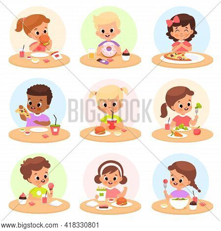 Children Eat. Happy Kids Have Lunch Separate Tables, Personal Place Cafeteria, Hungry Boys And Girls