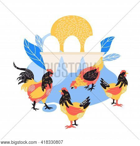 The Silhouette Of A Chicken Consists Of Multi-colored Segments. Agriculture.