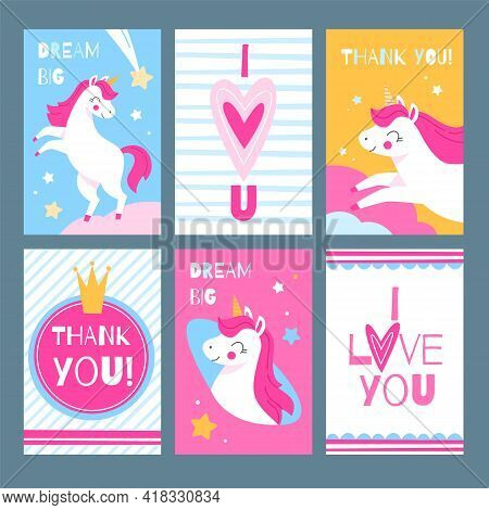 Cute Unicorns. Magic Animals With Greeting Text Postcards Collection, Sweet Fairy Horses With Pink M
