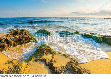 Seascape On A Sunny Morning. Summer Vacation At The Sea. Yellow Sand On The Beach With Rocks In Seaw