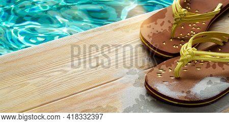 Flip Flops On Wooden Deck With Aqua Blue Pool Water On Background. Spa Resort Pool. Summer Luxury Va