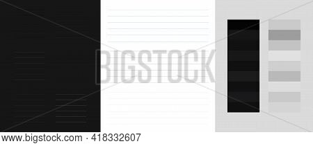 Grey Light And Dark Swatches For Writing Note Paper Big Set Vector. Lined Notepad Blanks Set Grey To