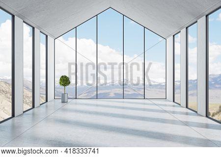 Empty Bright Room With Big Panoramic Triangular Shaped Windows, Landscape View, Interior Design Conc