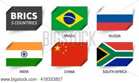 Brics . Association Of 5 Countries . Inserted Paper Flag Design . Vector .