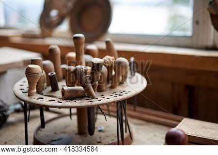 Wood Carving Tool Carpenter Tools In Stand At Workplace Handmade Woodworking Instrument For Woodwork