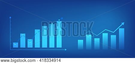 Growing Graph On Blue Background. Graph And Chart Elements For Design Sites. Business Success Concep