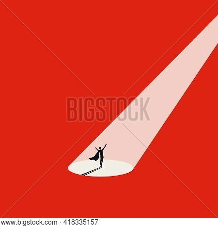 Business Talent Search With Spotlight On Superhero, Vector Concept. Symbol Of Recruitment, Talent Ac