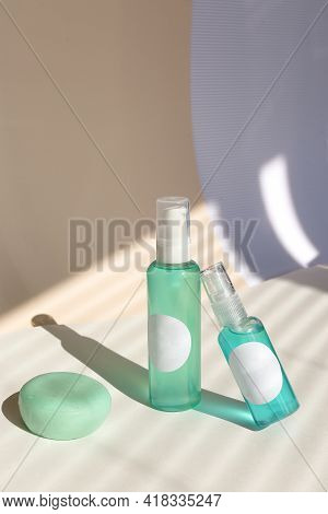 Cleansing Natural Cosmetics - Face Wash Cleansing Gel, Smoothing Toner, Striped Shadow Background.