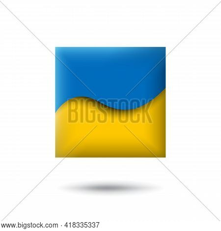 Ukraine Flag Icon In The Shape Of Square. Waving In The Wind. Abstract Waving Flag Of Ukraine. Paper