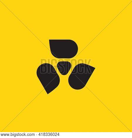 Abstract Radiation Symbol, Atomic Reactor Energy Logo, Pictogram For Game, Toxic Chemistry Alarm, Ha