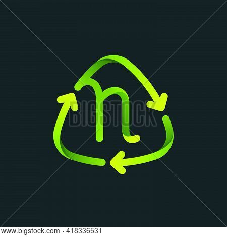 Recycling Symbol With N Letter Line Logo. Green Reuse Sign With Rotating Arrows. Vector Font For You