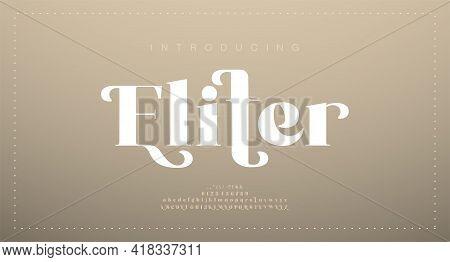 Elegant Luxury Alphabet Letters Font. Classic Lettering Minimal Modern Fashion Designs. Typography M