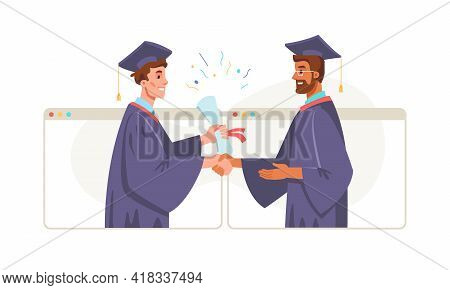 Graduation Online, Bachelor Master Degree Student And Lecturer Professor In Academic Gown And Mortar