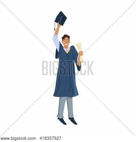 Happy Man Graduated Student Celebrate Graduation University, College Or High School Flat Cartoon Cha