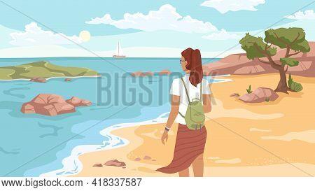 Summer Beach, Sandy Coastline, Tree And Woman Back View Looking On Sea Or Ocean, Flat Carton Style.