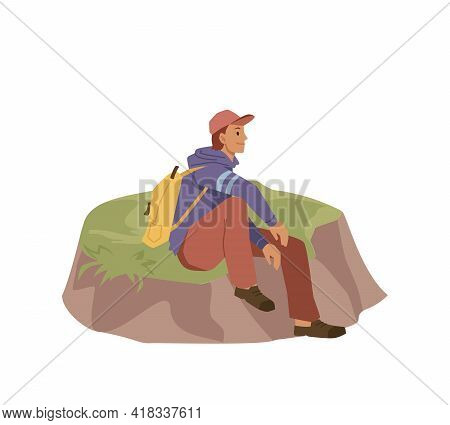 Traveler Sits On Hill Isolated Flat Cartoon Person. Vector Tourist Man In Cap And Rucksack Backpack,