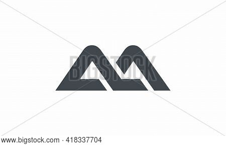 M Or Ma Or Am Letter Logo Concept Isolated On White Background.