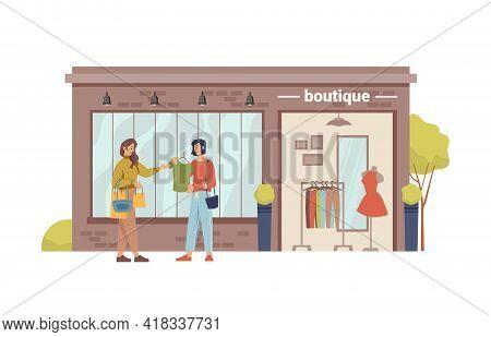 Clothing Store, Boutique Shopstore Facade Exterior Cartoon Building And Woman Choosing New Closes. V