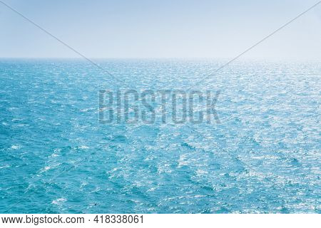 Sea and sky. Deep blue background nature composition.