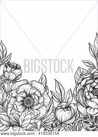 Beautiful Vector Frame With Black And White Peony Flowers And Leaves.
