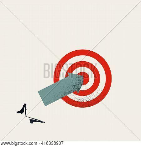 Business Superhero Hits Target Vector Concept. Symbol Of Success, Achievement, Goals. Minimal Illust