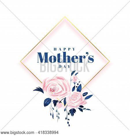 Lovely Happy Mothers Day Flower Card Design Vector Illustration