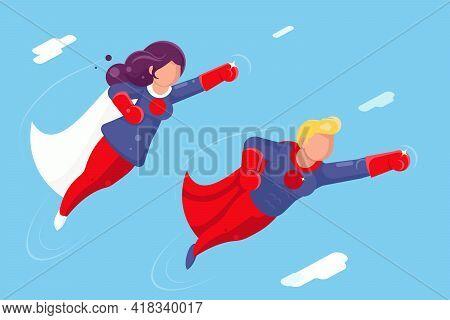 Modern Super Heroes Flying Sky Clowds Character Design Flat Vector Illustration
