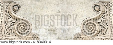 Grunge background with stucco texture of beige color and detail of an ancient carved floral stone ornament in Moroccan style. Horizontal banner in retro style. Copy space for text. Mock up template