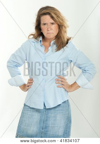 Woman looking with a reproachful expression