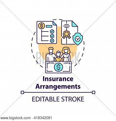 Insurance Arrangements Concept Icon. Financial Planning Idea Thin Line Illustration. Covering Expens