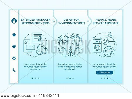 Electronic Waste Reduction Initiatives Onboarding Vector Template. Responsive Mobile Website With Ic