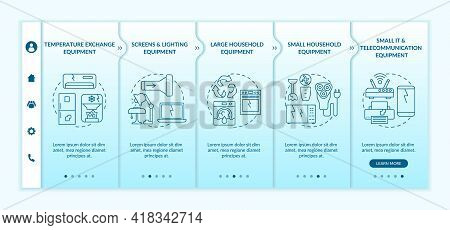 Electronic Waste Categories Onboarding Vector Template. Responsive Mobile Website With Icons. Web Pa