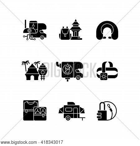 Roadtrip Black Glyph Icons Set On White Space. Travel Equipment. Spiritual Nomad. Resort For Tourist