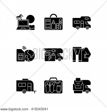Travel Black Glyph Icons Set On White Space. Recreational Vehicle. Campground For Rv. Roadtrip Gear.