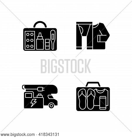 Traveler Things For Vacation Black Glyph Icons Set On White Space. Trailer Electricity Generator. Mi