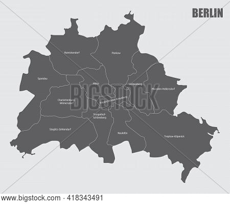 The Berlin City, Isolated Map Divided In Sectors With Labels, Germany