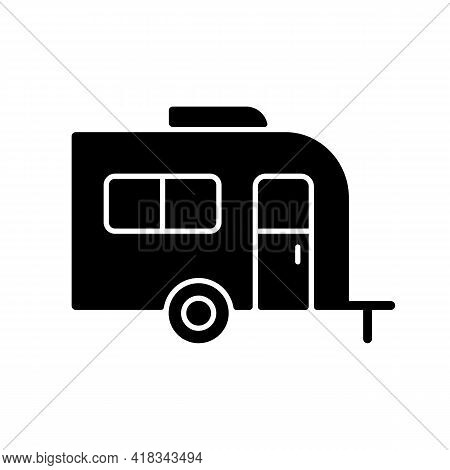 Caravan Black Glyph Icon. Trailer For Nomads Lifestyle. Roadtrip Transportation. Camping Trip For Tr