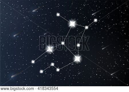 Virgo. Zodiac Constellation On Outer Space Background. Mystery And Esoteric. Horoscope Vector Illust