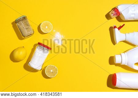 Flat Lay Composition With Eco-friendly Natural Cleaners. Baking Soda, Salt, Lemon And Mustard Powder