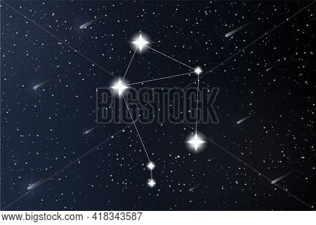 Libra. Zodiac Constellation On Outer Space Background. Mystery And Esoteric. Horoscope Vector Illust