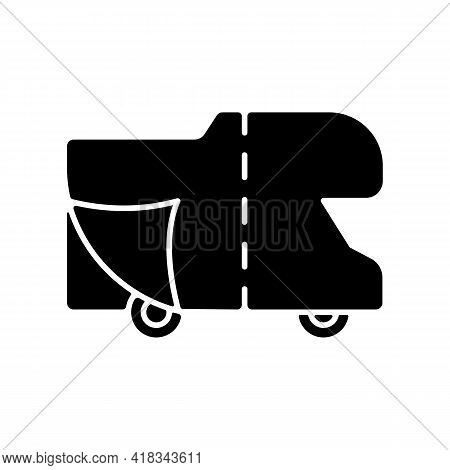 Rv Covers Black Glyph Icon. Roadtrip Gear. Trailer Service. Campground For Van. Nomadic Lifestyle. C