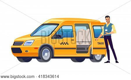 Taxi Driver Opens The Door Of His Car And Invites Passengers. Yellow Car Taxi. Taxi Service Offer. W
