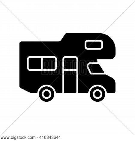 Recreational Vehicle Black Glyph Icon. Roadtrip Trailer. Van For Touring. Nomadic Lifestyle. Auto Tr