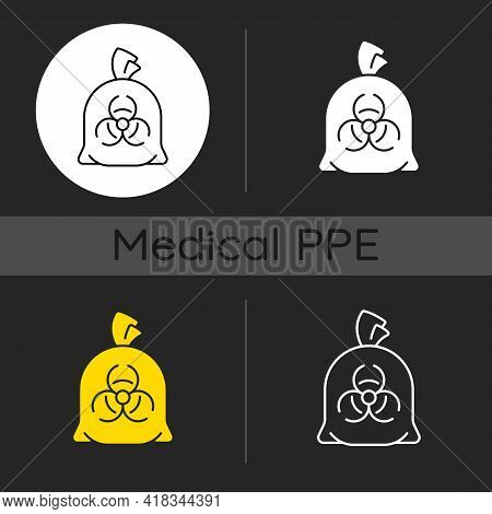 Infectious Waste Bag Dark Theme Icons Set. Disposable Biohazard Trash. Quarantine Safety. Disposable